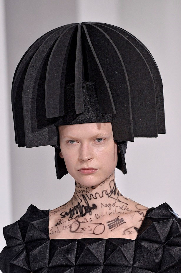 7. Black is back.<br><br> Some of the most fascinating forms of the season came courtesy of Junya Watanabe, with complex pleating, architectural headpieces and mathematical body scribble all served up in a fetching shade of jet.