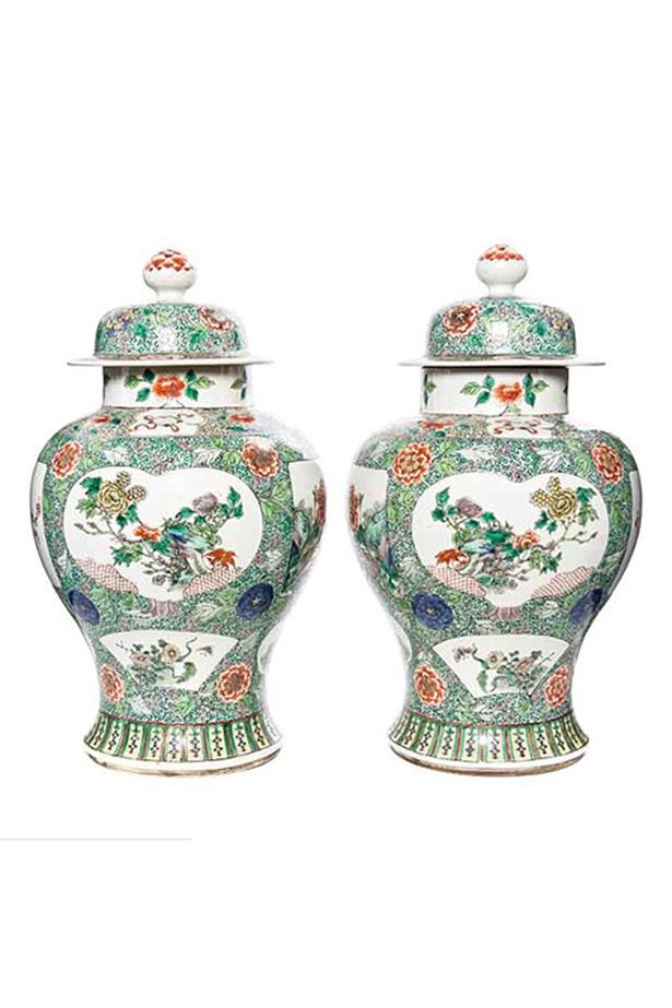 A pair of Famille Verte Porcelain Vases and Covers