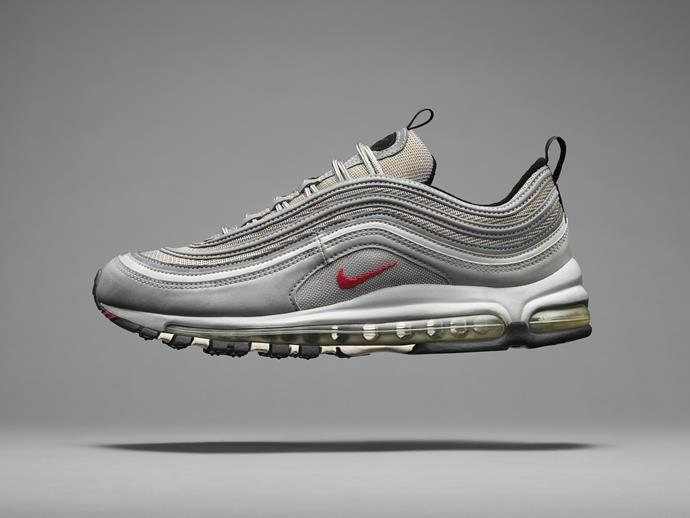 The Nike Air Max 97 marked another leap forward with the first full-length Max Air unit. The groundbreaking shoe demanded an upper to match its audacious innovation. Starting with silver, the fluid design took inspiration from Tokyo's lightning-fast bullet trains. Reflective piping gave the Air Max 97 a look that amplified in the right light. The perfect shoe for a maximalist period, when more mattered in music, movies and style, it has since become an era-defining design classic.