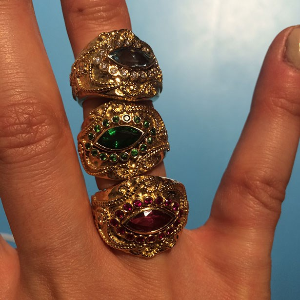 Cannot wait to have @aureliebidermann new cashmere aquamarine, tourmalite and ruby rings on @netaporter