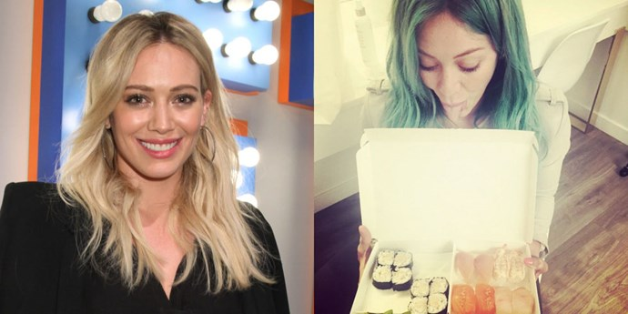 """<strong>Hilary Duff</strong> dipped into the celeb color hair trend when she debuted green mermaid hair on Instagram right after St. Patrick's Day. """"@Ambahhh turned me into a mermaid last night ... love all u girls @riawnacapri @nikkilee901 @ninezeroone xx,"""" she captioned her Instagram. It's a fun twist for spring."""
