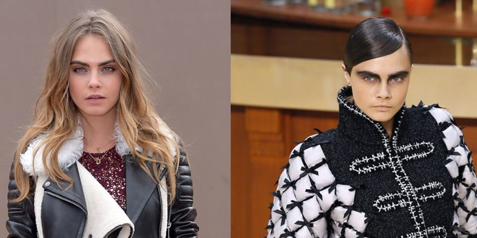 It's not the first time the supermodel has dabbled as a brunette, but <strong>Cara Delevingne</strong> just took her golden tresses to the dark, dark side—debuting the deep chocolate hue at the Chanel show during Paris Fashion Week.