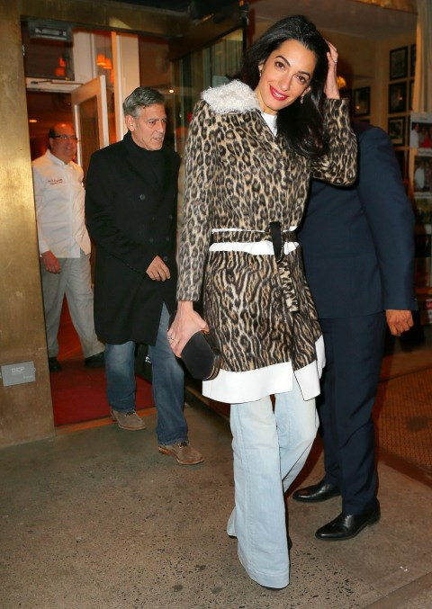 <strong>MARCH 23, 2015</strong> In a Giambattista Valli coat while having dinner out with George Clooney in New York City.
