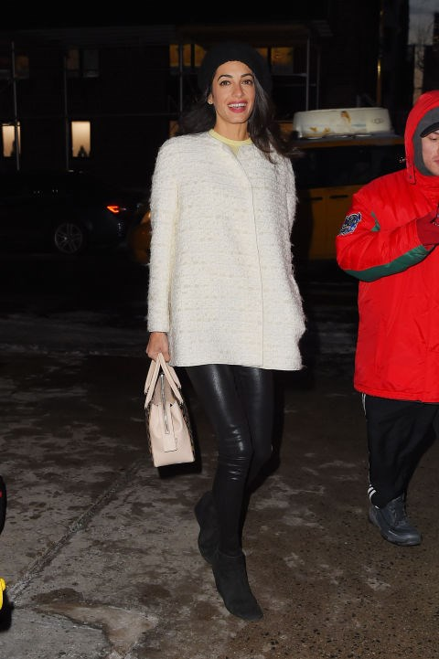 <strong>MARCH 6, 2015</strong> Walking in New York City in Giambattista Valli coat and Citizens of Humanity jeans.
