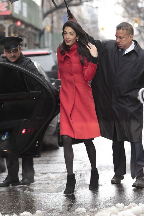 <strong>MARCH 6, 2015</strong> Outside the Carlyle Hotel in New York City in a Paule KA coat.