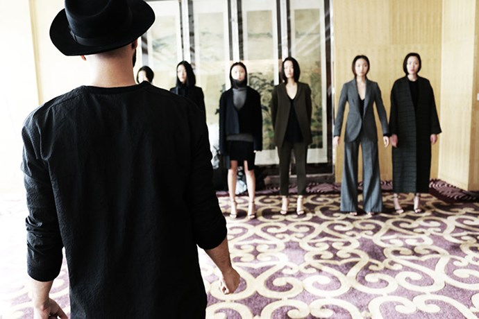 Only hours after arriving in Beijing, we quickly jump into fittings with the models for our presentation and show. After mixing and matching, we have our final line-up ready to go for the big day. Final sigh of relief as the collection fits well on the girls, whom we'd just seen for the first time that day.