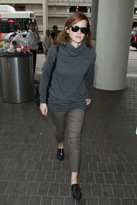 <strong>EMMA WATSON</strong> <BR> Grey tones are a nice alternative to all black.