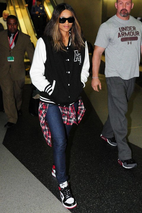 <strong>CIARA</strong> <BR> The tomboy look wins again because it's just so, so comfortable. We love this flannel/varsity jacket/Nikes combo.