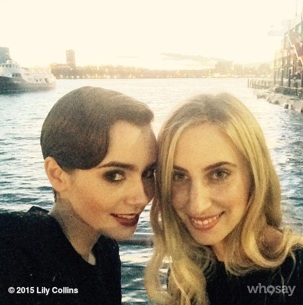 Lily Collins and celebrity hair stylist Mara Roszak <br><br> Source: @lilyjcollins