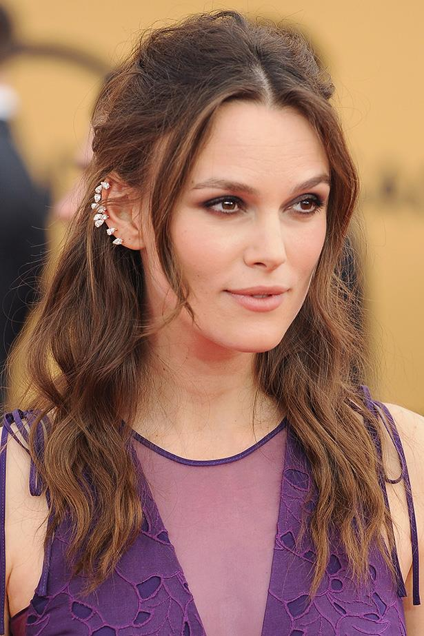 Let's face it, most beauty choices are an instant win for Keira Knightley, the actress blessed with the cheekbones of a demi-god. This look is particularly harmonious because of the subtle purple eye shadow that doesn't detract from the dress, but still gives enough of a violet tinge to complete the look.