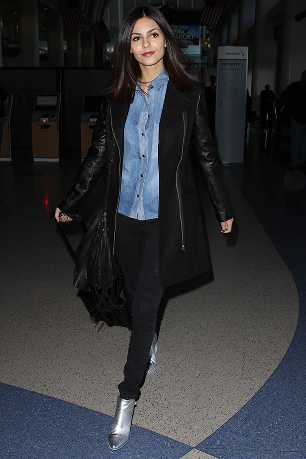 Actress Victoria Justice proves that a statement pair of ankle boots can transform your ensemble on any trip.