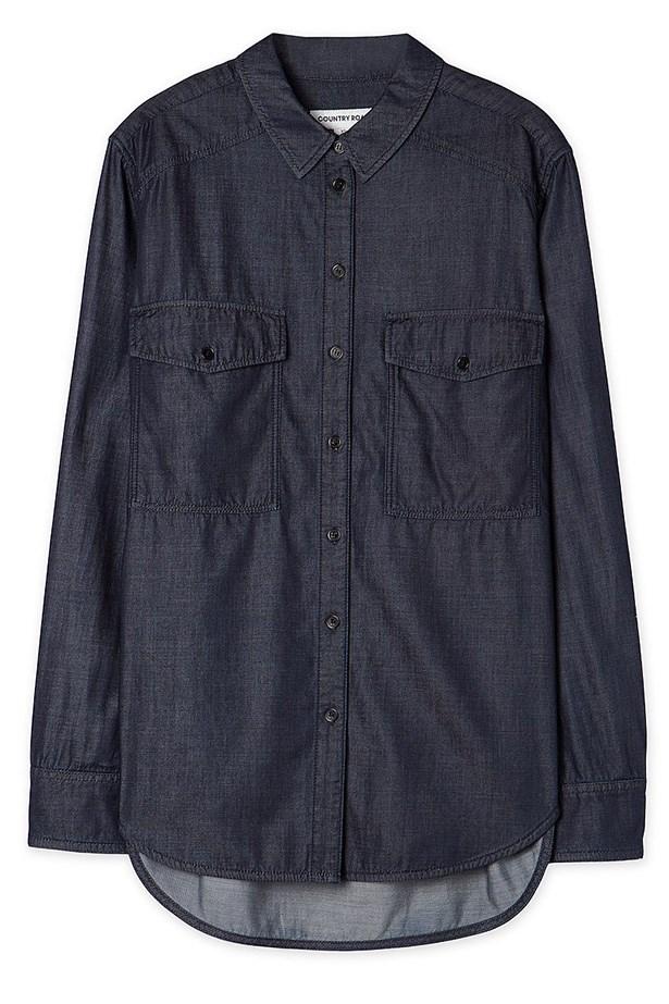 "Shirt, $119, Country Road, <a href=""http://www.countryroad.com.au/shop/woman/clothing/shirts/60179324/Pocket-Denim-Shirt.html"">countryroad.com.au</a>"