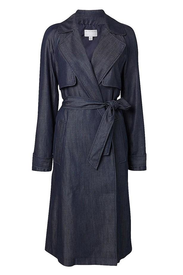"""Trench coat, $249.95, Witchery, <a href=""""http://www.witchery.com.au/shop/woman/clothing/new-in/dark-denim-trench-60180513"""">witchery.com.au</a>"""