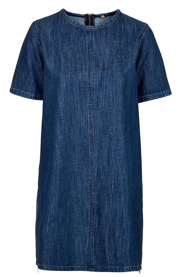 """Dress, $73, Topshop, <a href=""""http://www.topshop.com/en/tsuk/product/clothing-427/denim-897/view-all-1804017/moto-indigo-wash-t-shirt-dress-3821896?refinements=category~%5b1093338%7c525523%5d&bi=1&ps=200"""">topshop.com</a>"""