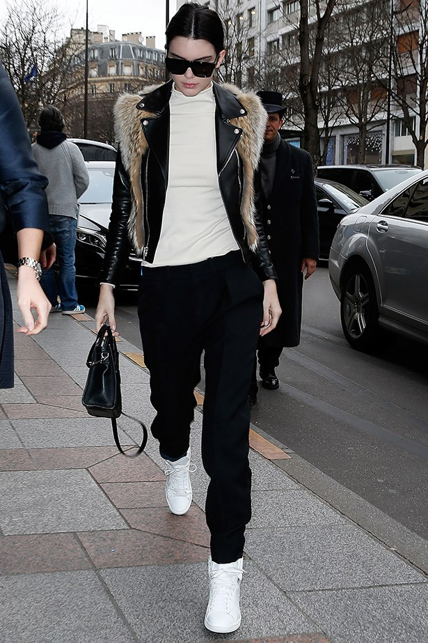 Kendall Jenner is Miss Monochrome in this urban chic ensemble.