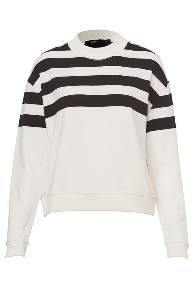 "Sweater, $59.95, Sportsgirl, <a href=""http://www.sportsgirl.com.au/mock-neck-crop-sweat-stripe"">sportsgirl.com.au</a>"