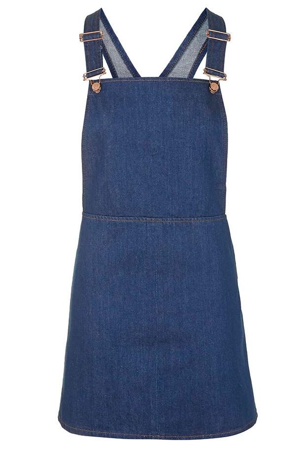 "Dress, $62, Topshop, <a href=""http://www.topshop.com/en/tsuk/product/new-in-this-week-2169932/new-in-this-week-493/moto-indigo-denim-pinafore-dress-4298138?bi=21&ps=20"">topshop.com</a>"