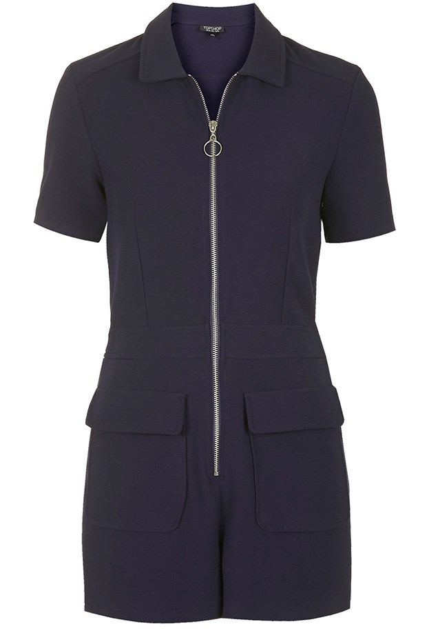"Playsuit, $96, Topshop, <a href=""http://www.topshop.com/en/tsuk/product/new-in-this-week-2169932/new-in-this-week-493/zip-front-polo-playsuit-4291928?bi=1&ps=20"">topshop.com</a>"