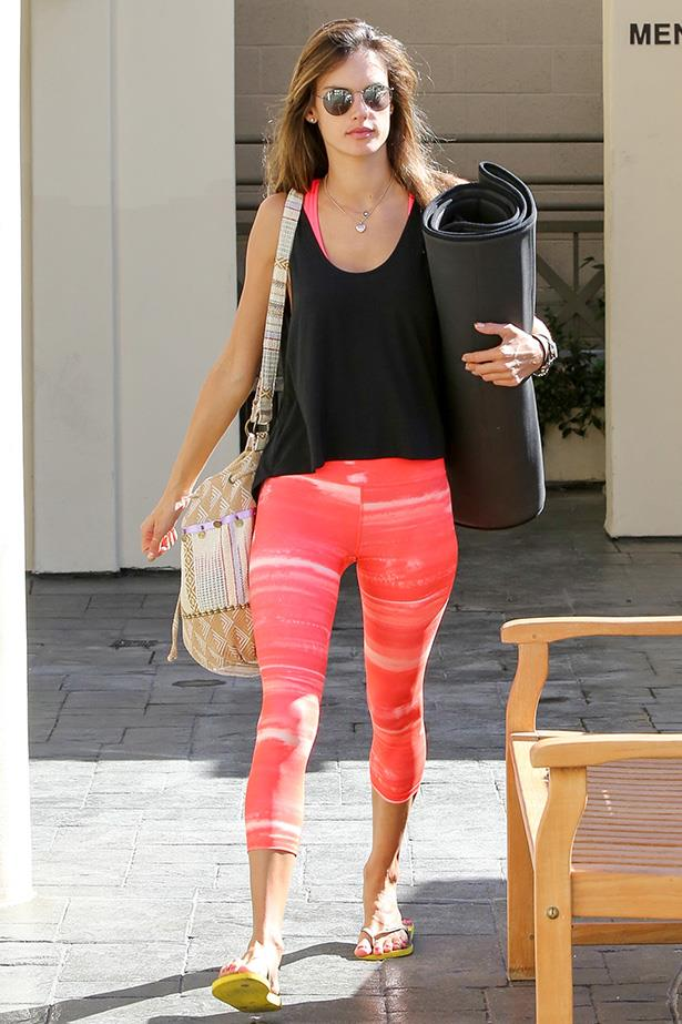 <strong>2014</strong> <br>Vibrant, statement leggings have proven to be another fitness trend to have their day in the sun lately. This look is effortlessly rocked by Victoria's Secret angel Alessandra Ambrosio.
