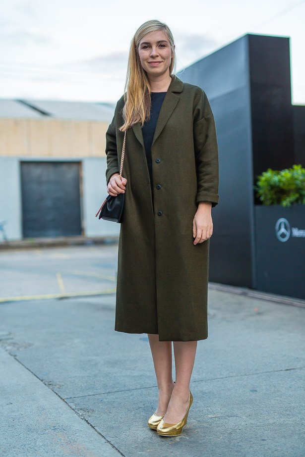 Anne Fullerton wearing COS dress and Topshop coat.
