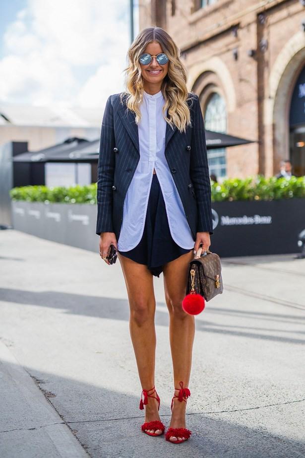 Elle Ferguson wearing Bassike, bag by Louis Vuitton and shoes by Altuzarra.