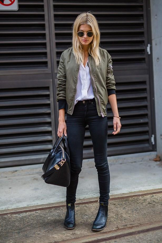 Megan Blake Irwin wearing Equipment shirt, Acne jeans and Topshop jacket.