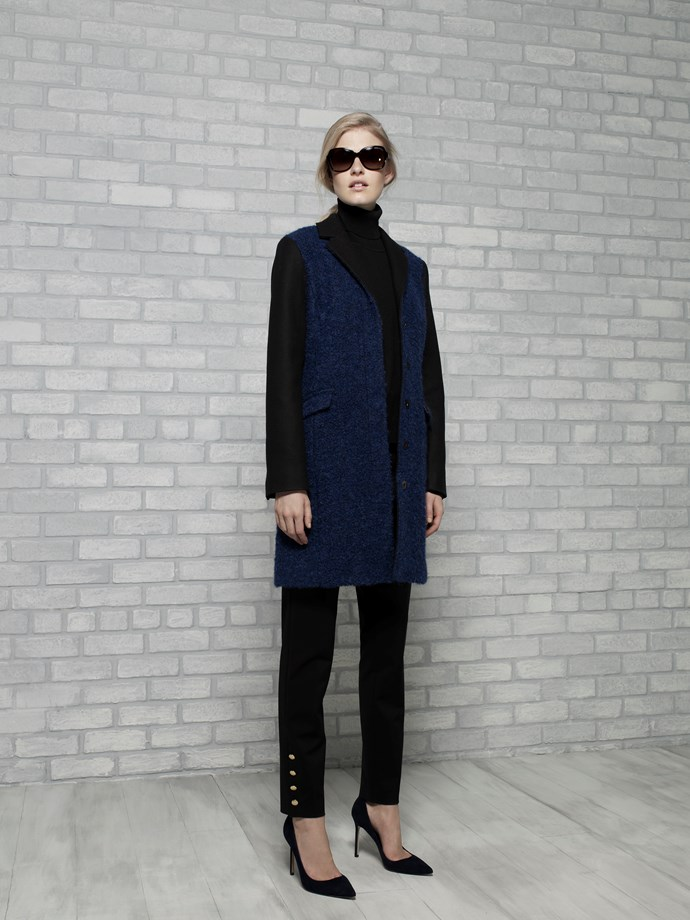 "Wool Colour block Coat in Blue/Black $619 <br/> <br/> <em>All Armani Exchange</em> <br/><br/><br/> This gallery is brought to you by the new <strong><a href=""http://www.armaniexchange.com/jump.do?itemID=15&itemType=SINGLESLOT&australia=home&bgImage=bgcountry2"">A