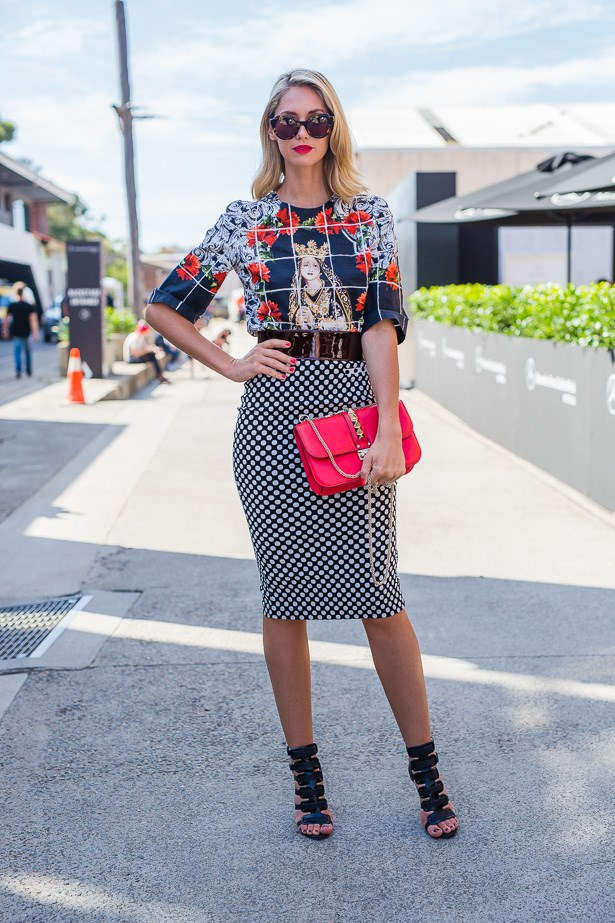 Nikki Phillips wearing Dolce & Gabbana top and Bec & Bridge skirt<br> IMAGE: TheTrendSpotter.net