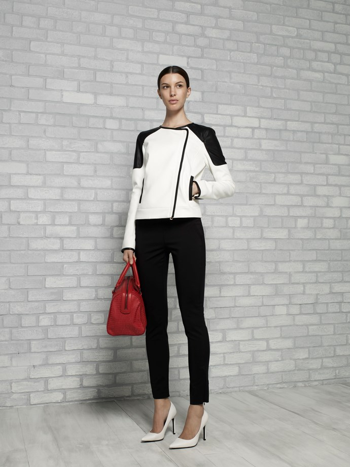"Twill and Faux Leather Moto in Black & Snow $269 <br/> <em>All Armani Exchange</em> <br/><br/><br/> This gallery is brought to you by the new <strong><a href=""http://www.armaniexchange.com/jump.do?itemID=15&itemType=SINGLESLOT&australia=home&bgImage=bgcountry2"">A