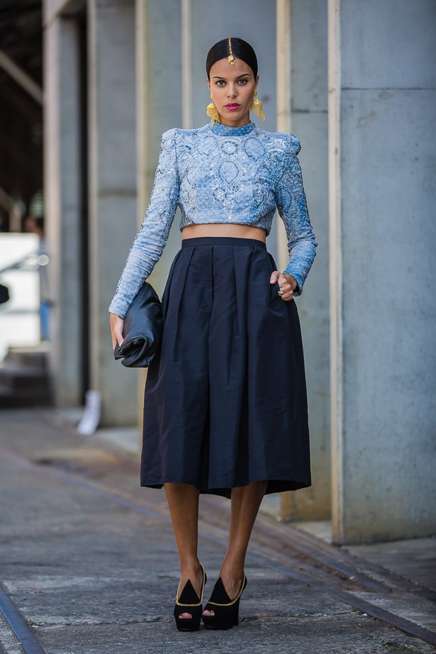 Fleur Egan wearing Zhivago top, Tibi skirt and YSL shoes <BR><BR> IMAGE: TheTrendspotter.net