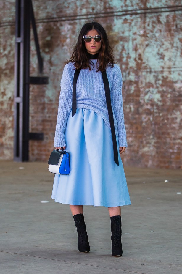 Tracey Samimi wearing Zara knit and Pink Stitch skirt<BR><BR> IMAGE: TheTrendspotter.net