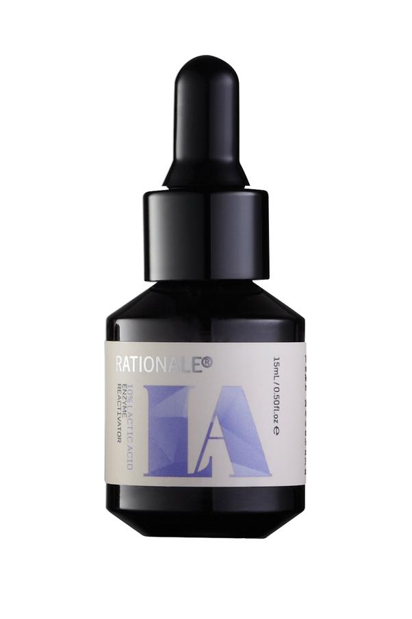 "<p><strong>L = Lactic acid</strong></p> <p>Lactic acid is an alpha hydroxy acid (AHA) derived from milk (most forms of lactic acid are now synthetic). It is a form of chemical exfoliant.</p> <p><em>10% Lactic Acid Enzyme Reactivator, $142, Rationale, <a href=""https://rationale.com/"">rationale.com</a></em>  </p>"