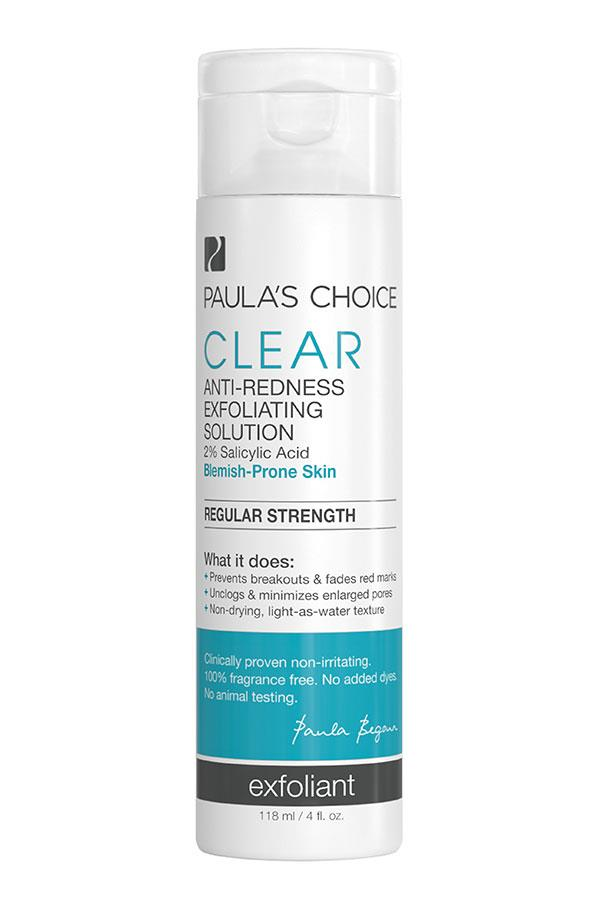 """<p><strong>S = Salicylic acid</strong></p> <p>Salicylic acid is referred to as beta hydroxy acid (BHA) and is the active ingredient of aspirin. It has anti-inflammatory properties which make it an anti-irritant when used on the skin. BHA can exfoliate inside the pores as well as on the skin's surface, which makes it effective at reducing blemishes. It also has antimicrobial properties.</p> <p><em>Clear Regular Strength Anti-Redness Exfoliating Solution with 2% Salicylic Acid, $32, Paula's Choice, <a href=""""http://www.paulaschoice.com.au/"""">paulaschoice.com.au</a> </em></p>"""