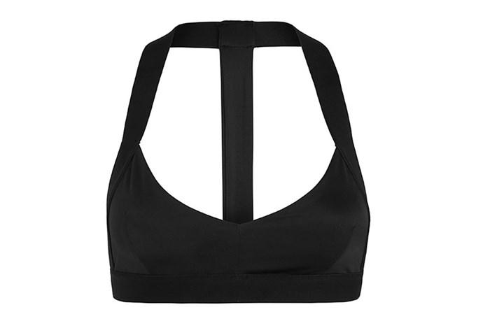 "Sports bra, $100, Olympia Activewear, <a href=""https://www.modesportif.com/shop/product/t-bra-in-jet/"">modesportif.com</a>"