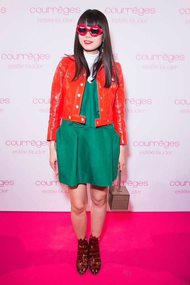 Leaf Greener wearing Del Pozo dress and Courreges jacket during PFW 2015.