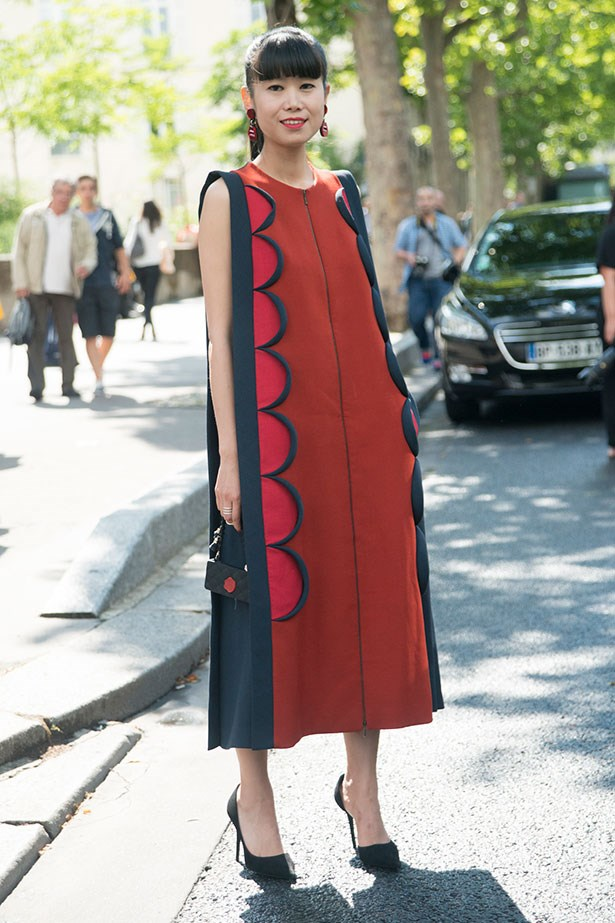 Leaf attends the Paris Haute Couture Fashion Week AW 2014 wearing Celine shoes and Delpozo dress.