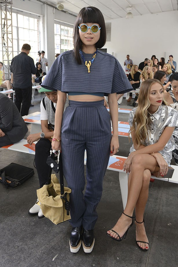 Leaf Greener attends the Tanya Taylor fashion show during Mercedes-Benz Fashion Week Spring 2015 in NYC.