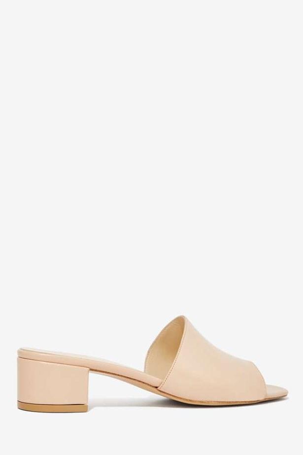 "Sandal, $462, Maryam Nassir Zadeh, <a href=""http://www.nastygal.com.au/whats-new/maryam-nassir-zadeh-leather-slide-sandal"">nastygal.com</a>"