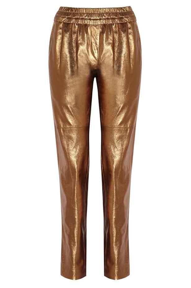 "Pants, $892, Isabel Marant, <a href=""http://www.theoutnet.com/product/Isabel-Marant/Becka-metallic-leather-tapered-pants/553132?cm_mmc=Havas_ELLEAUS-_-IsabelMarant-_-SS15-_-150415"">theoutnet.com</a>"