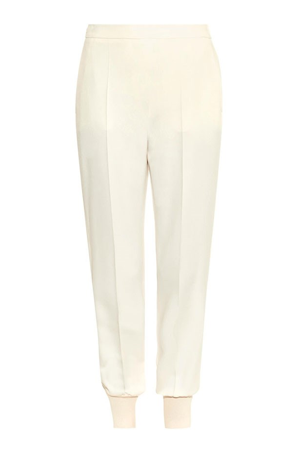 "Pants, $577, Stella McCartney, <a href=""http://www.matchesfashion.com/au/products/Stella-McCartney-Julia-stretch-cady-track-pants-1011043"">matchesfashion.com</a>"