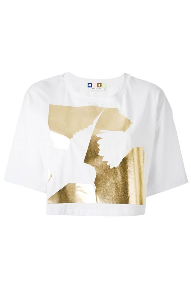 "Shirt, $94, MSGM, <a href=""http://www.farfetch.com/au/shopping/women/msgm-foil-print-cropped-t-shirt-item-11007136.aspx?storeid=9336&ffref=lp_30_9_"">farfetch.com</a>"