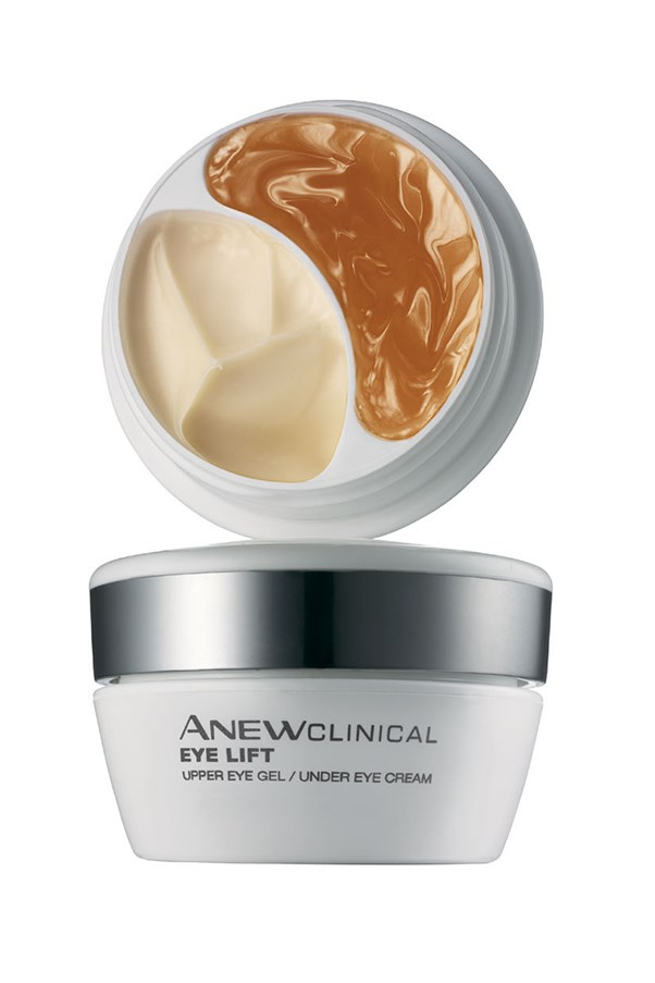 "<p>Avon's two-in-one jar contains separate formulas for the upper and lower eye area. Use the Dimensional Lift Technology gel on the upper eye to promote elasticity, and the Derma-Refine Technology cream on the lower eye area to combat puffiness and under eye circles. </p> <p><em>Anew Clinical Eye Lift, $40, Avon, <a href=""http://www.avon.com.au/PRSuite/home_page.page"">avon.com.au</a> </em></p>"