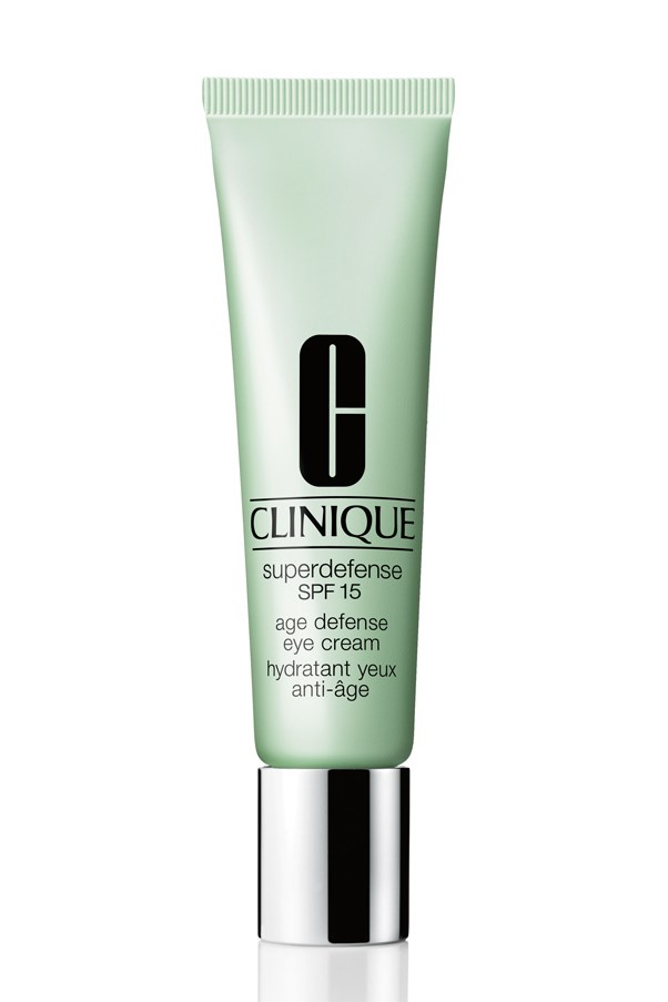 "<p>This daytime specific eye cream contains SPF 15 to protect the eyes from the damaging effects of UVA and UVB light that cause fine lines and a loss of plumpness in the skin. A hydrating formula that builds a strong moisture barrier against environmental aggressors this cream is also lightly tinted for a luminous finish. </p> <p><em>Superdefense SPF15 Age Defense Eye Cream, $50, Clinique, <a href=""http://www.clinique.com.au/"">clinique.com.au</a></em></p>"