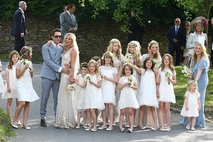 """Lottie Moss was only 13 when she acted as bridesmaid for big (half) sister Kate's wedding to Jamie Hince, bringing the <a href=""""http://www.elle.com.au/news/fashion-news/2015/3/lottie-moss-makes-her-catwalk-debut/"""">now-model</a> into the spotlight for the first time. She wore a dress by Stella McCartney, and called it her """"most prized possession."""""""