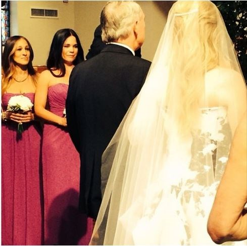 Sarah Jessica Parker played bridesmaid to her former <em>Sex and the City </em>assistant Melinda Relyea in August of 2014, wearing a strapless fuchsia number by an undisclosed designer.