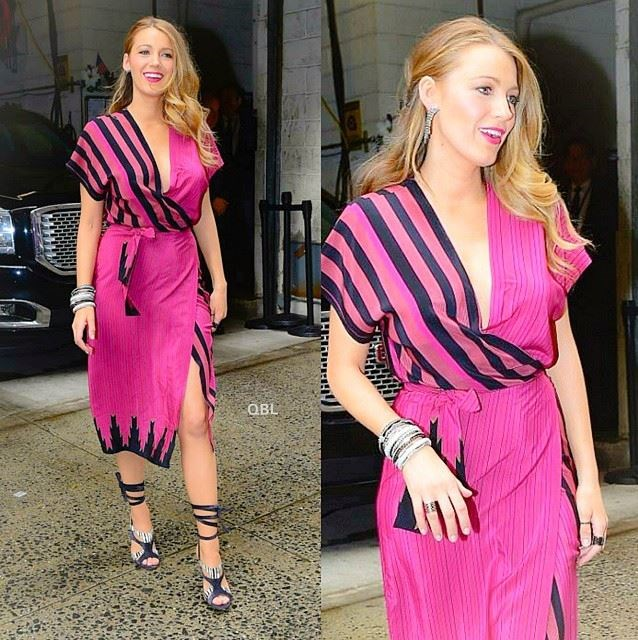 <strong>Look 5:</strong> <em>9:23am </em>Leaving the studio after filming 'Live with Kelly and Michael'<br> Kristinit wrap dress<br> Image: Instagram @_queenblakelively
