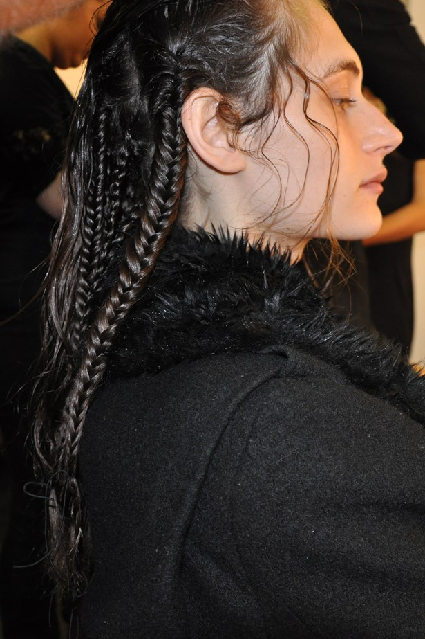 <p><strong>Day 4: Thursday</strong></p> <p><em>Kirrily Johnston for Cooper St Edit</em></p> <p>My last show of the week with Wella is for my friend Kirrily Johnston for Cooper St Edit. Kirrily wants a modern gladiator-inspired look so we're focusing on braids with bronze painted partlines. I'm using Wella Ocean Spritz Sea Salt Spray and Sebastian Drynamic Dry Shampoo for texture and a more matte finish.</p>
