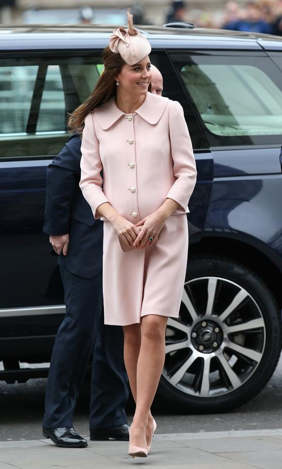 We love that this pregnancy has inspired Kate to wear all-over colours. If you weren't sold on this simple yet sophisticated trend before, let pale pink from Alexander McQueen gently win you over.