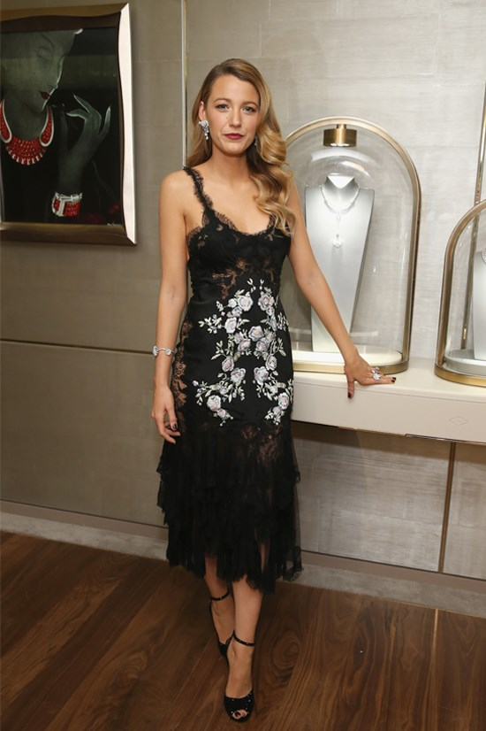 Blake Lively wearing Marchesa at the unveiling of Van Cleef & Arpels' redesigned New York 5th Avenue flagship maison, December 2013