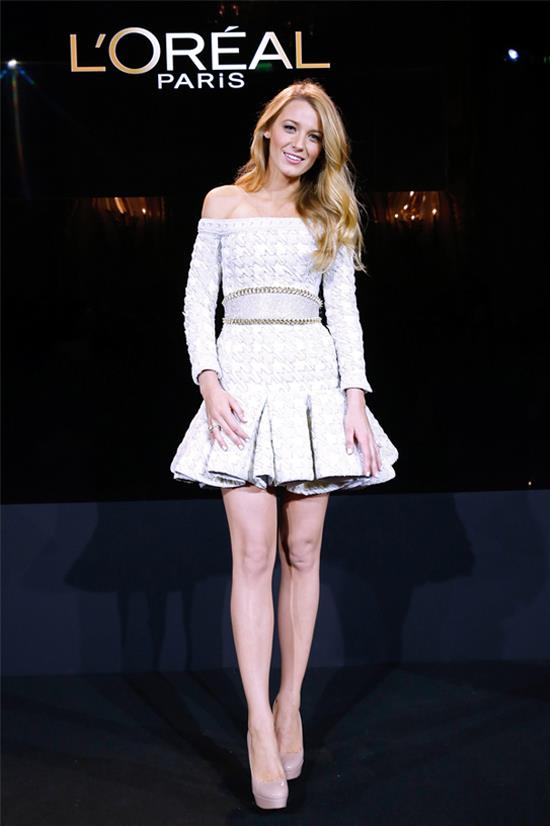 Wearing Balmain at the announcement of Blake Lively as the new face of L'Oréal Paris, October 2013